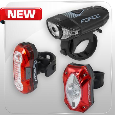 Výkonné červené zadné blikačky FORCE DEUX 5 LED a FORCE RED 1 CREE LED 60lm